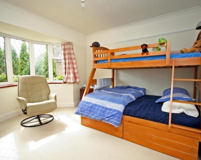 photo of beige blue orange white with bay window