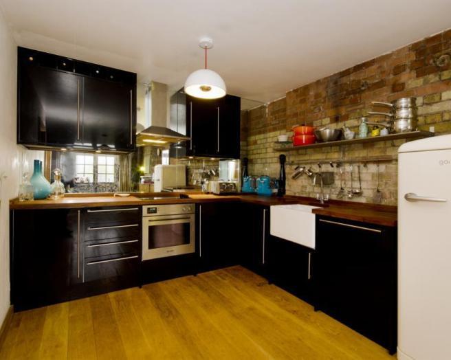 Butler sink kitchen design ideas photos inspiration for Brown and orange kitchen ideas