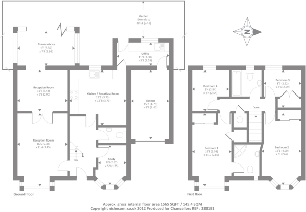 4 bedroom detached house for sale in mileway gardens for Oxford floor plan