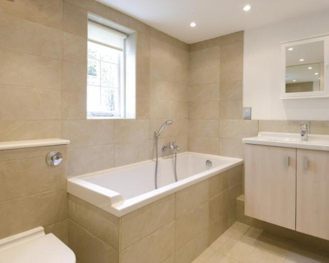 photo of contemporary modern beige limestone tiles bathroom with tiles