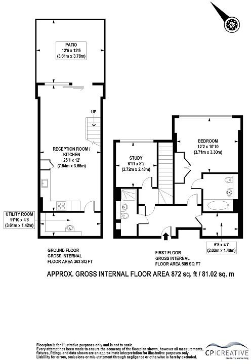 Total Area approx: 872 sq. ft / 81.02 sq. m