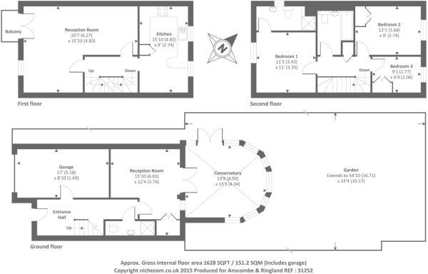 3 bedroom end of terrace house for sale in highgrove close for Highgrove house floor plan