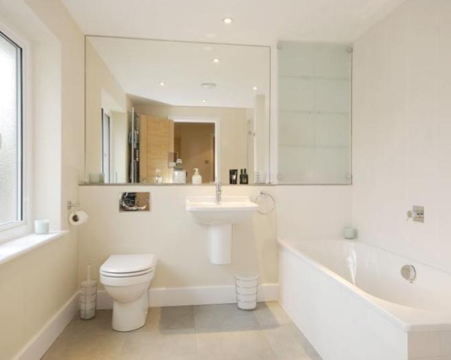 Beige bath mirror design ideas photos inspiration for Beige bathroom bin