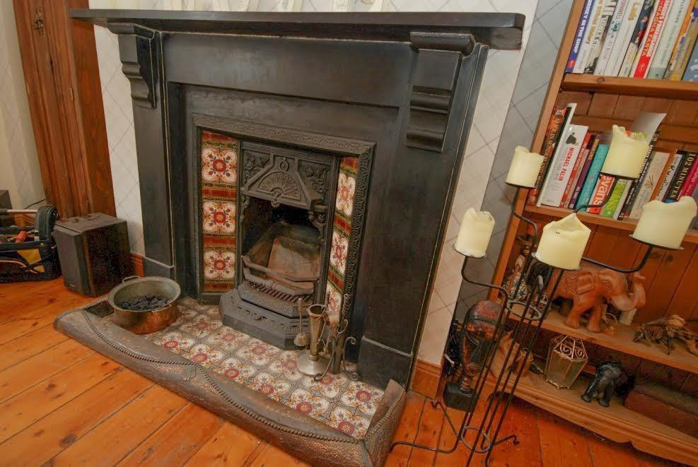 fireplace in dining