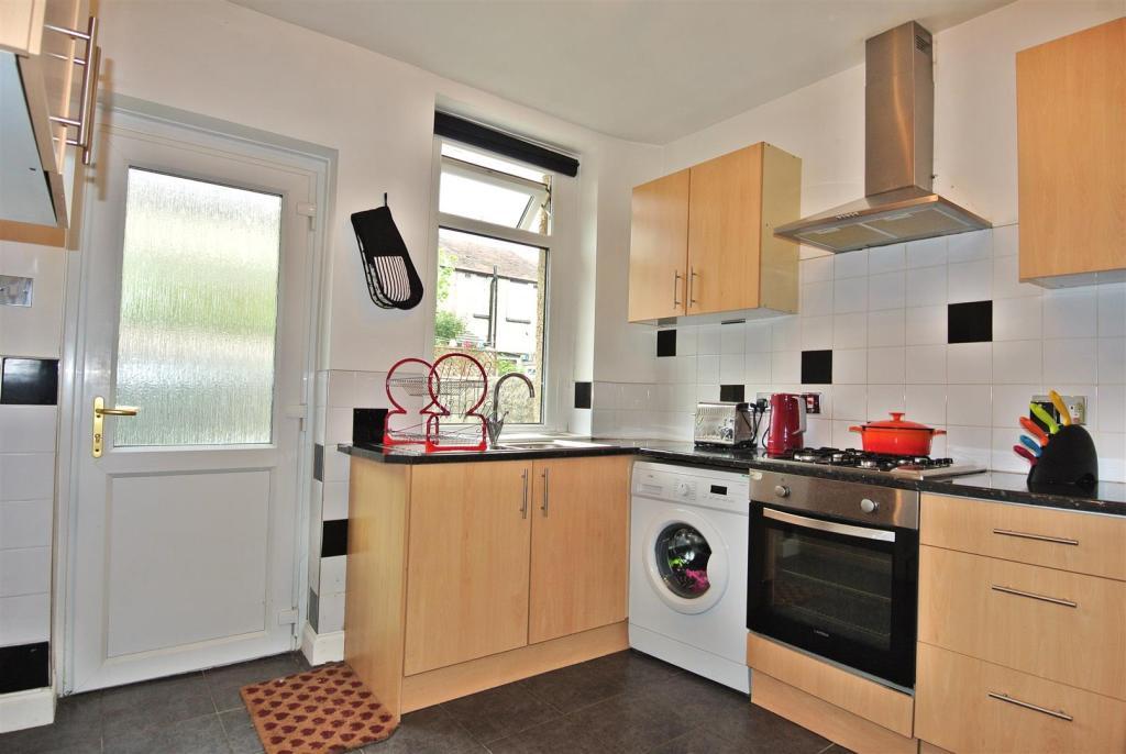 The kitchen looks ou