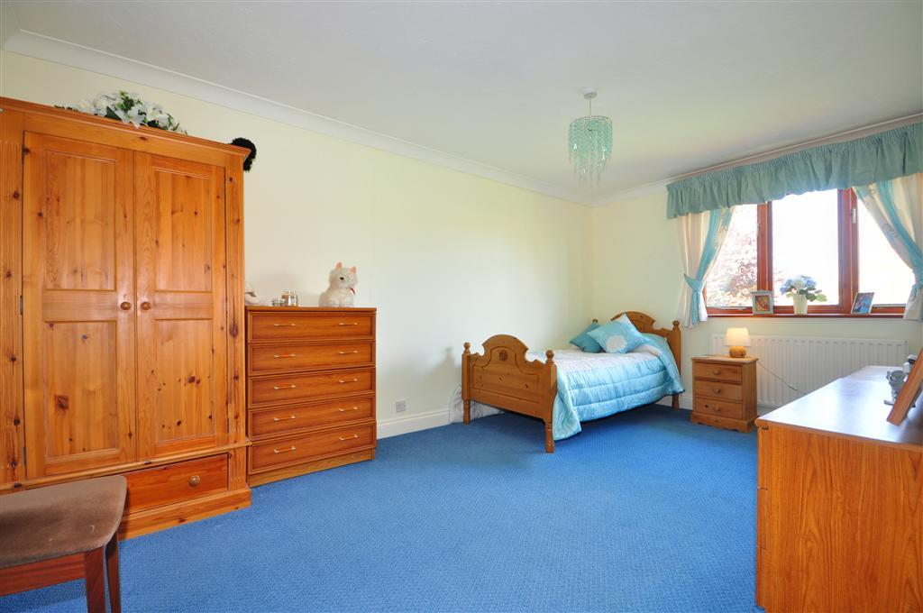 photo of blue cream white pine bedroom with carpet
