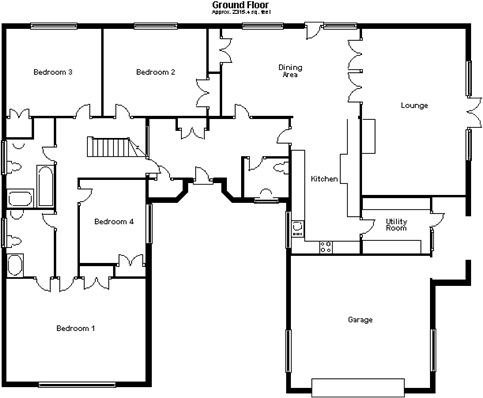 First Floor plan  4 bedroom bungalow for sale in Three Horseshoes Road  Harlow. Five Bedroom Bungalow Plan