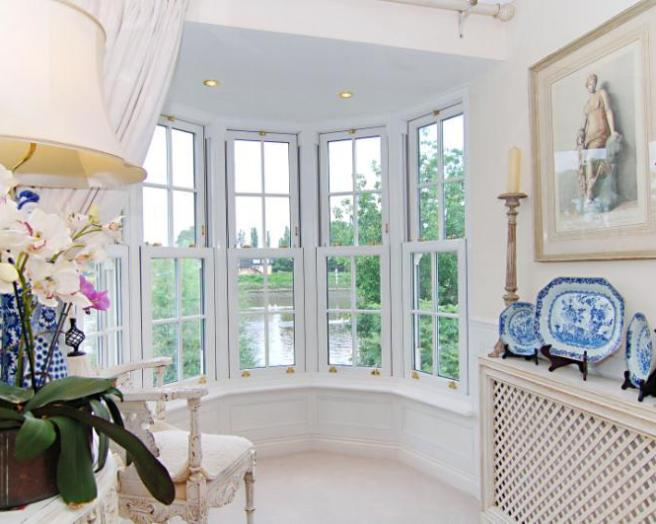 photo of beige white with bay window