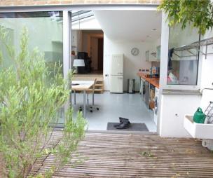 photo of smeg garden kitchen kitchen extension with patio doors and decking