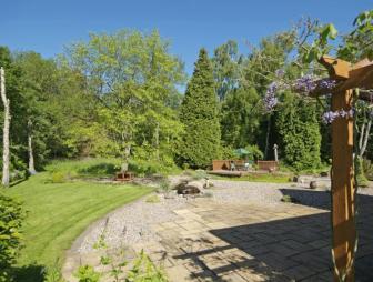 photo of gravel garden and ornamental garden paving pergola
