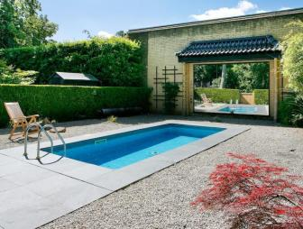 photo of asian zen gravel garden with swimming pool and pool