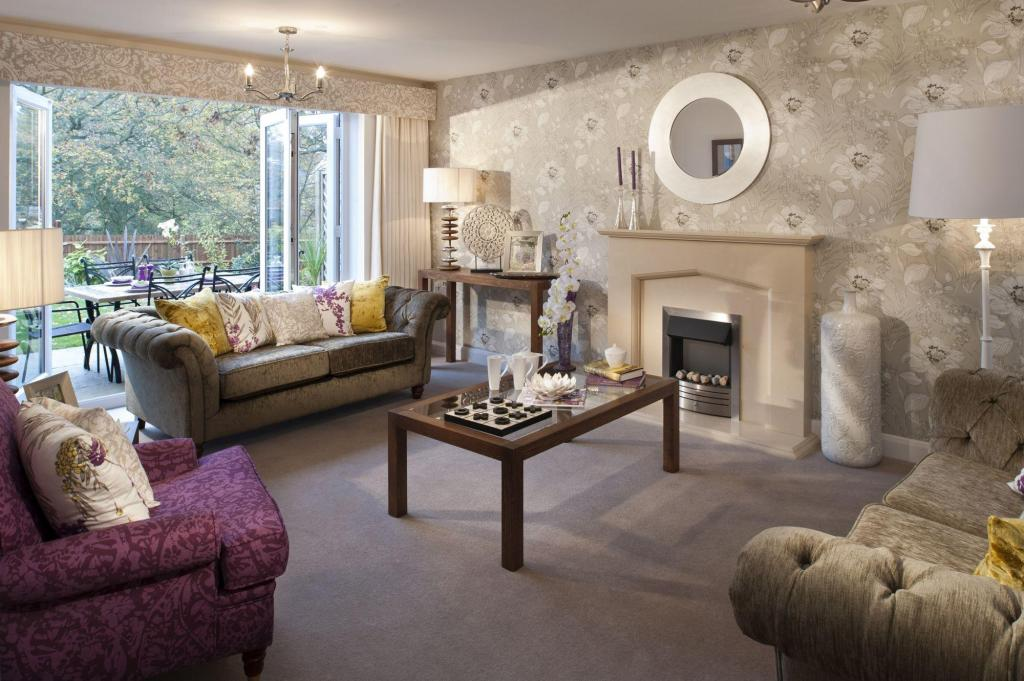 Showhome design ideas photos inspiration rightmove for Purple feature wallpaper living room
