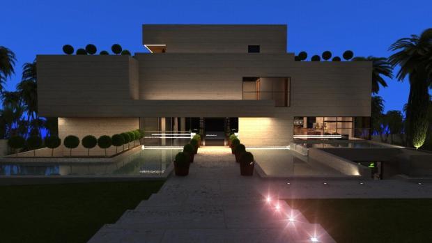 Evening facade