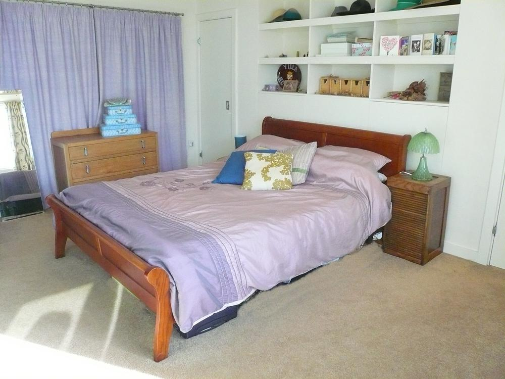 photo of beige lilac white bedroom master bedroom