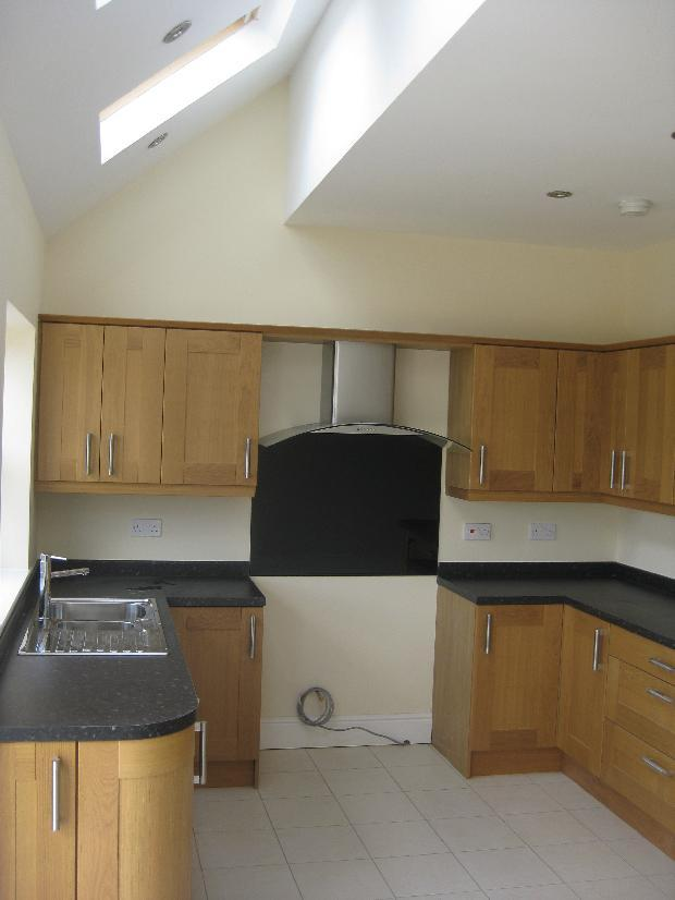 Feature sloping ceiling in kitchen