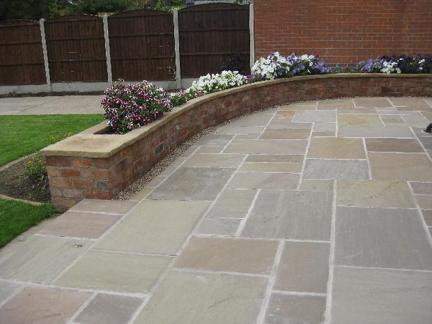 Large natural stone patio
