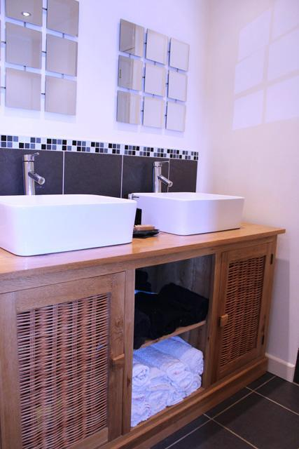 Bathroom His n Hers Basins on Solid Oak Cabinet