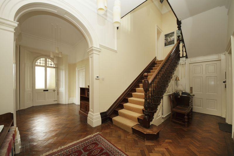 Beige stairs hallway design ideas photos inspiration Design ideas for hallways and stairs