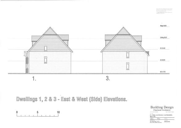 PLOTS 1, 2 & 3 - EAST & WEST ELEVATION