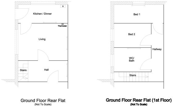 floor plan, ground floor rear flat 3