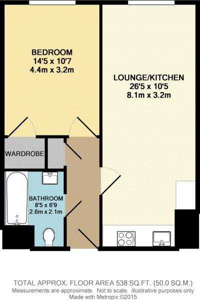 One Bed No Balcony