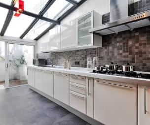 photo of airy contemporary light grey white extension kitchen kitchen extension