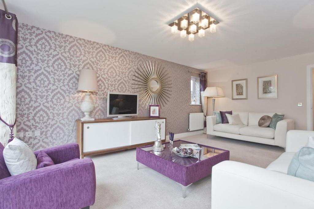 Living Room Purple White Beige Lounge Wallpaper Colour Scheme