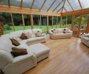 photo of beige brown green white conservatory