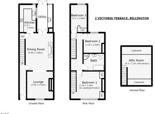 attic bedroom ideas uk - 3 bedroom terraced house for sale in 2 Victoria Terrace