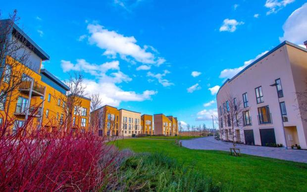 A crescent of new homes in West Bromwich