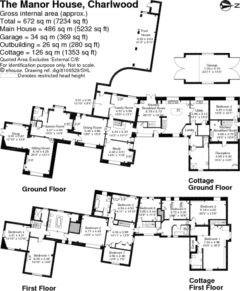 9 bedroom house for sale in the manor house charlwood for Uk house floor plans