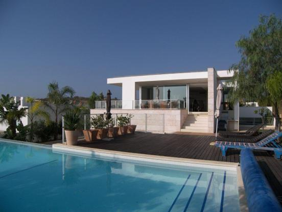 Exterior of villa from swimming pool