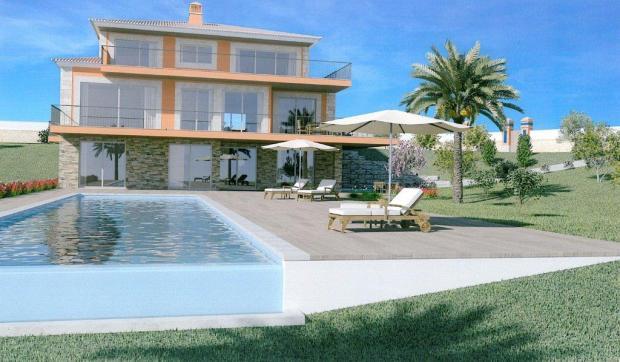 Villa exterior form swimming pool (3D image)