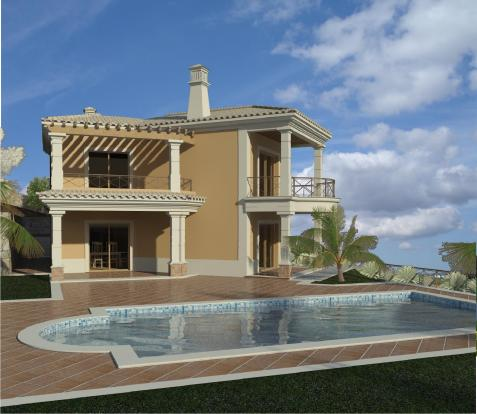 Villa and swimming pool 3d image