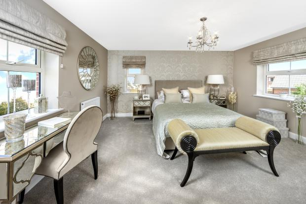 Moorecroft master bedroom at Spireswood Grange