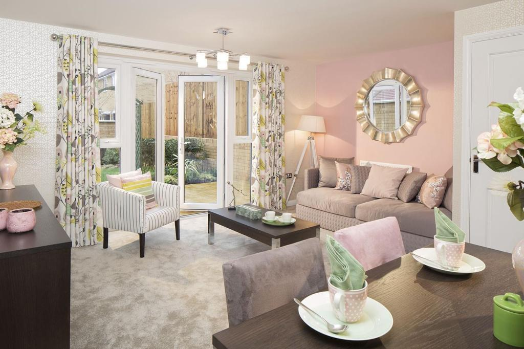 Typical Barwick living and dining area with French doors
