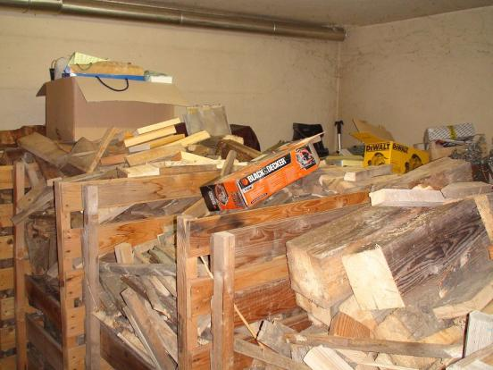 Storage room for wood logs