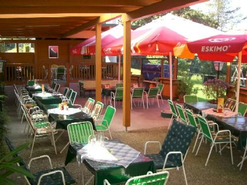Outside covered seating area