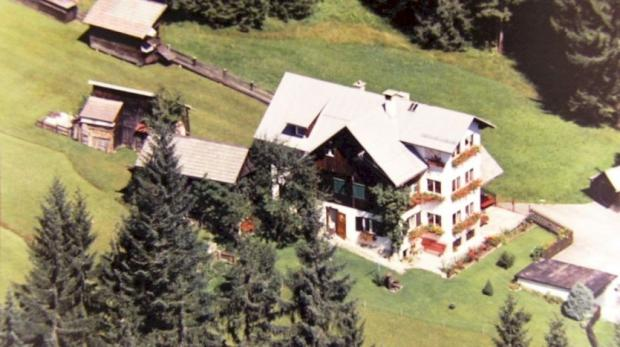Aerial view of house and land