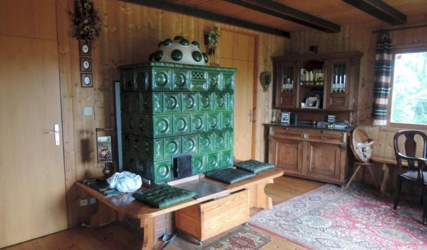 Living room with traditional stove