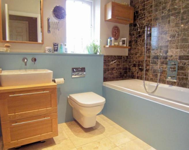 Shower sink bathroom design ideas photos inspiration for Orange and brown bathroom ideas