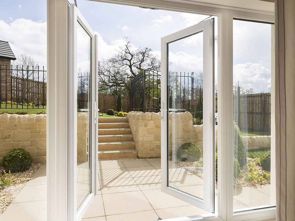 French doors to paved patio