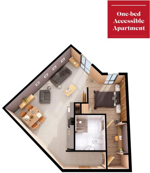 Floor Plan 1 Bed Accessible Apartment