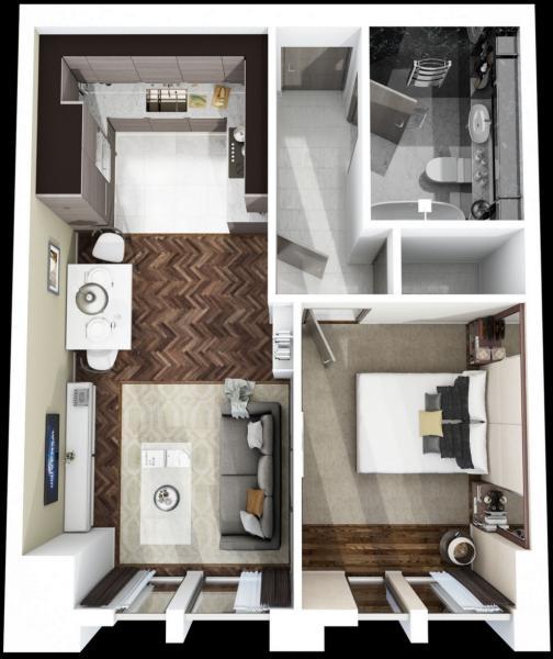 Floor Plan 1 Bed Apartment