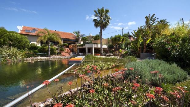 natural swimming lake and house