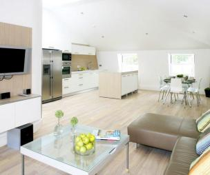 photo of beige white kitchen living room loft conversion lounge