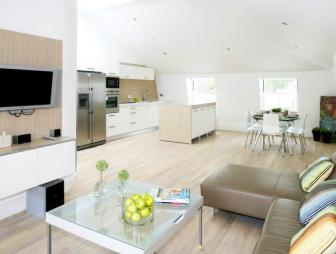 photo of beige white kitchen living room loft conversion lounge