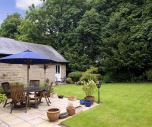 photo of garden and parasol patio