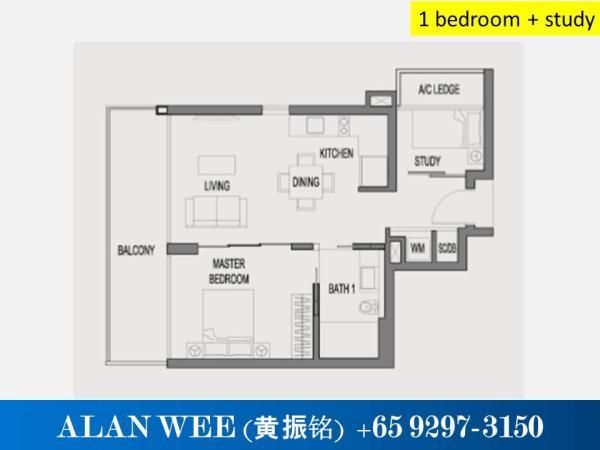 1 Bedroom + Study