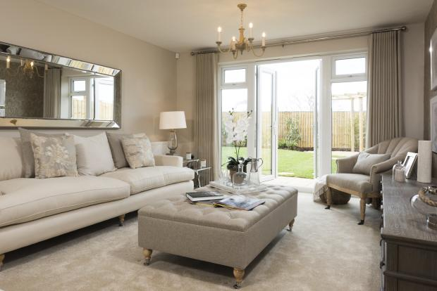 Lounge with French doors to garden